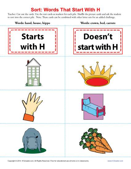 Words Starting With H | Beginning Consonant Worksheets